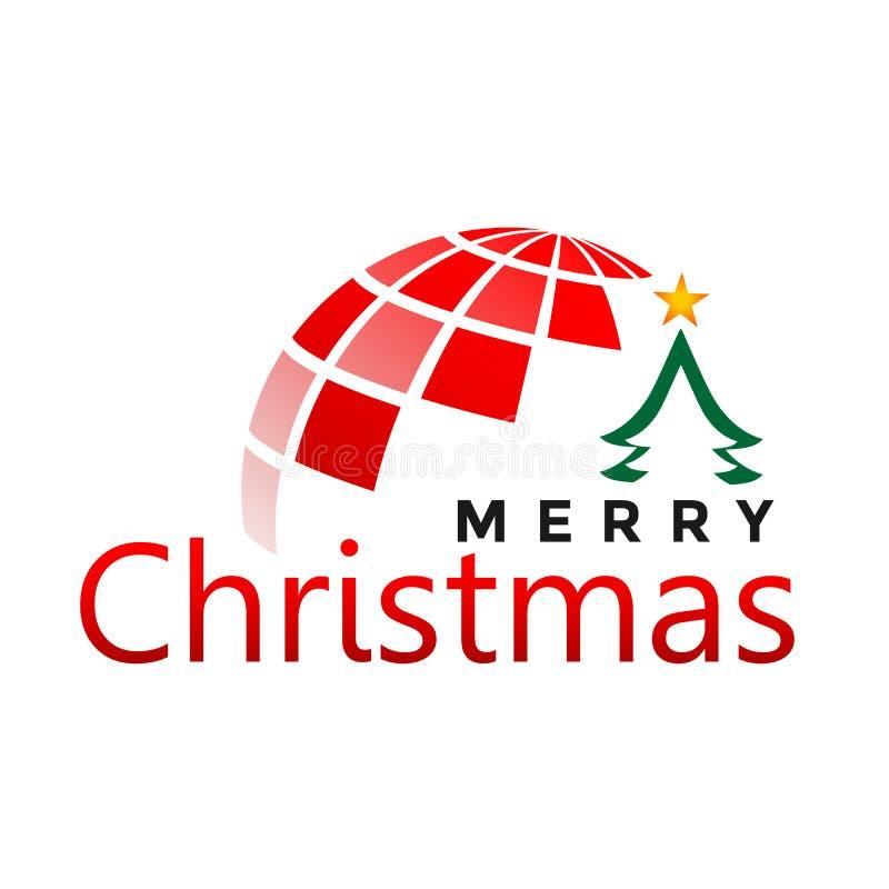 Mundo do globo e do Feliz Natal e cumprimento do projeto do texto no ícone colorido ouro no fundo preto abstrato ilustração stock