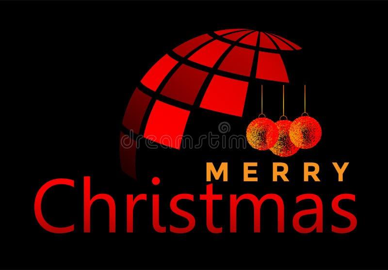 Mundo do globo e do Feliz Natal e cumprimento do projeto do texto no ícone colorido vermelho no fundo preto abstrato ilustração do vetor