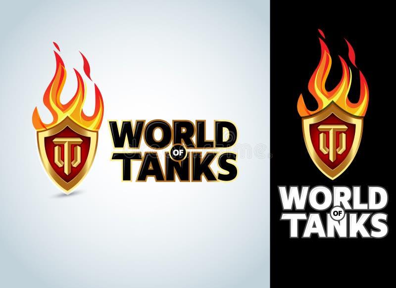 Mundo do jogo dos tanques, projeto gráfico do t-shirt militar, ilustração do vetor ilustração royalty free