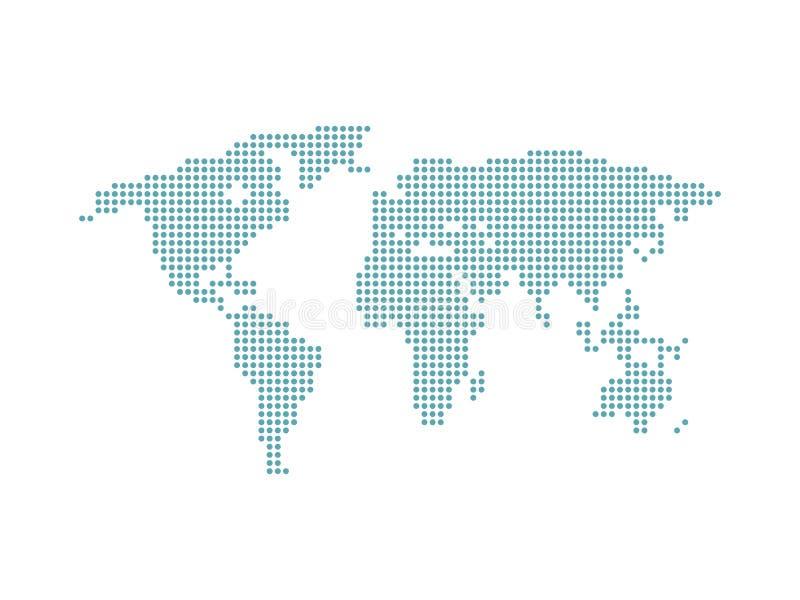 Mundo do mapa do ponto Mapa de mundo pontilhado Isolado no fundo branco Vetor ilustração do vetor
