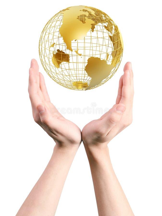 Mundo do quadro nas mãos imagem de stock royalty free