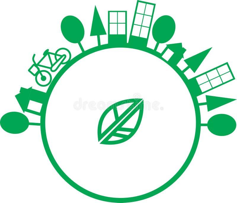 Mundo do verde do conceito do logotipo da ecologia imagens de stock royalty free