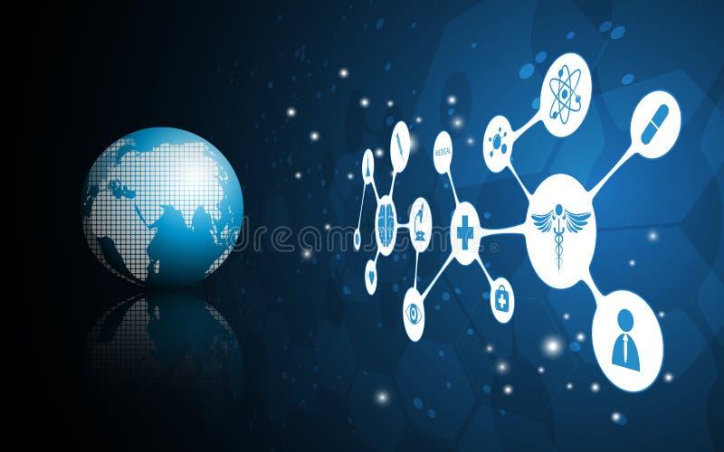 Mundo do vetor do fundo médico do conceito da ciência ilustração stock