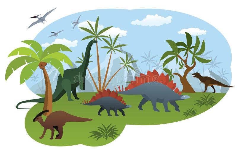 Mundo dos dinossauros ilustração royalty free