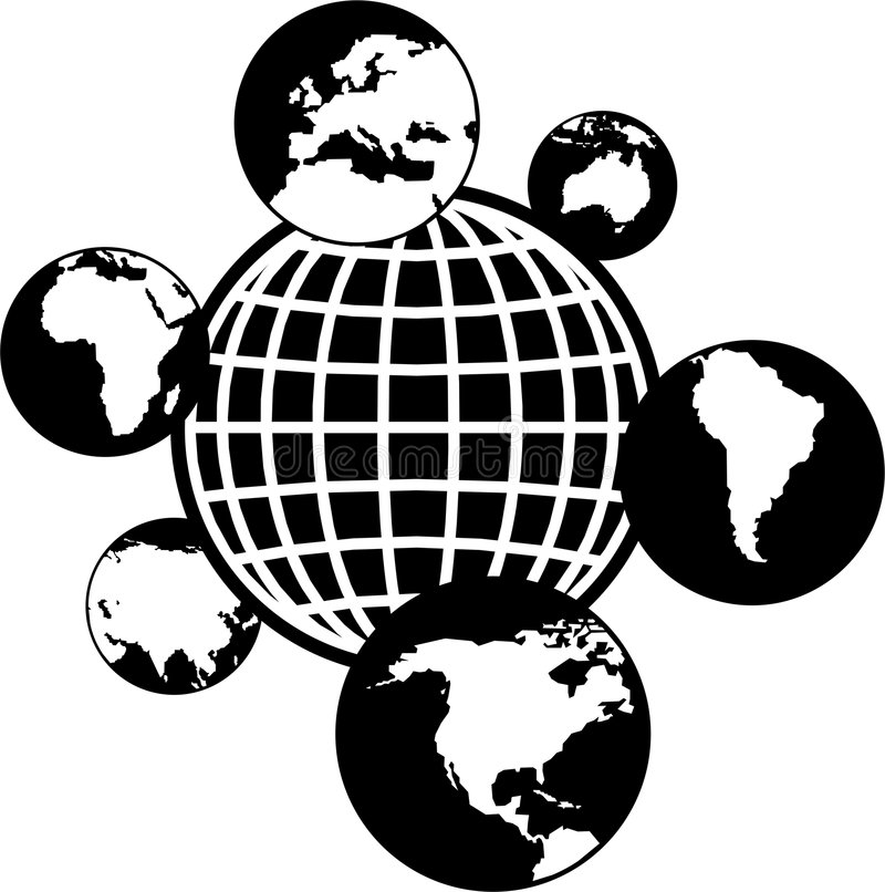 Mundo dos globos ilustração stock