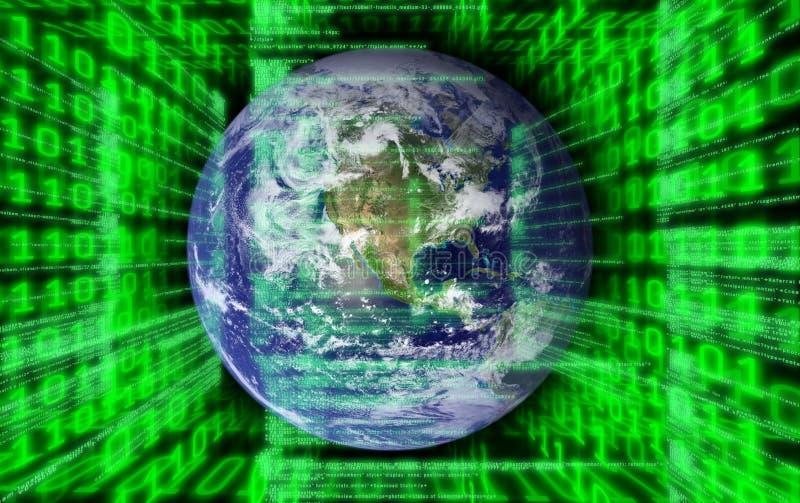 Mundo e código binário ilustração stock