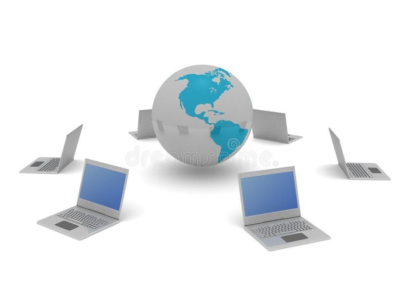 Mundo e computadores imagens de stock royalty free