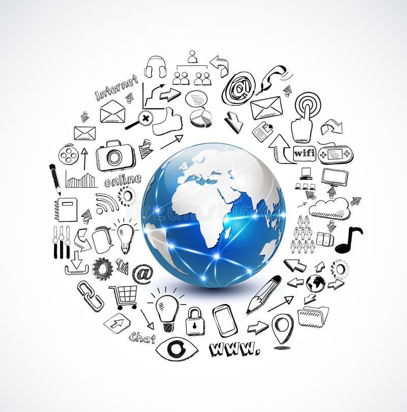 Mundo e conceito da tecnologia com technolog da garatuja ilustração stock