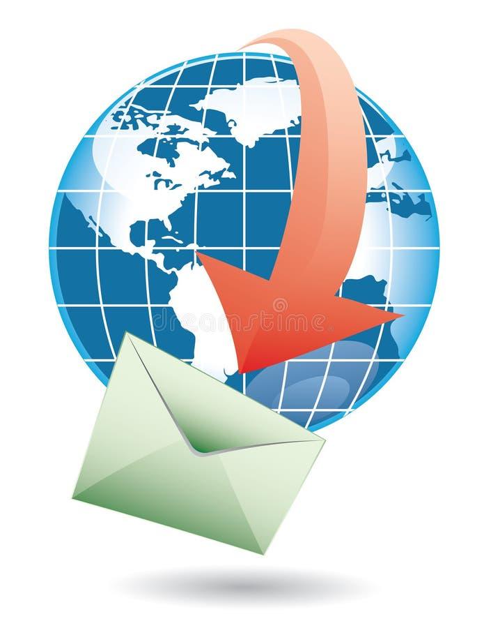 Mundo e correio ilustração stock
