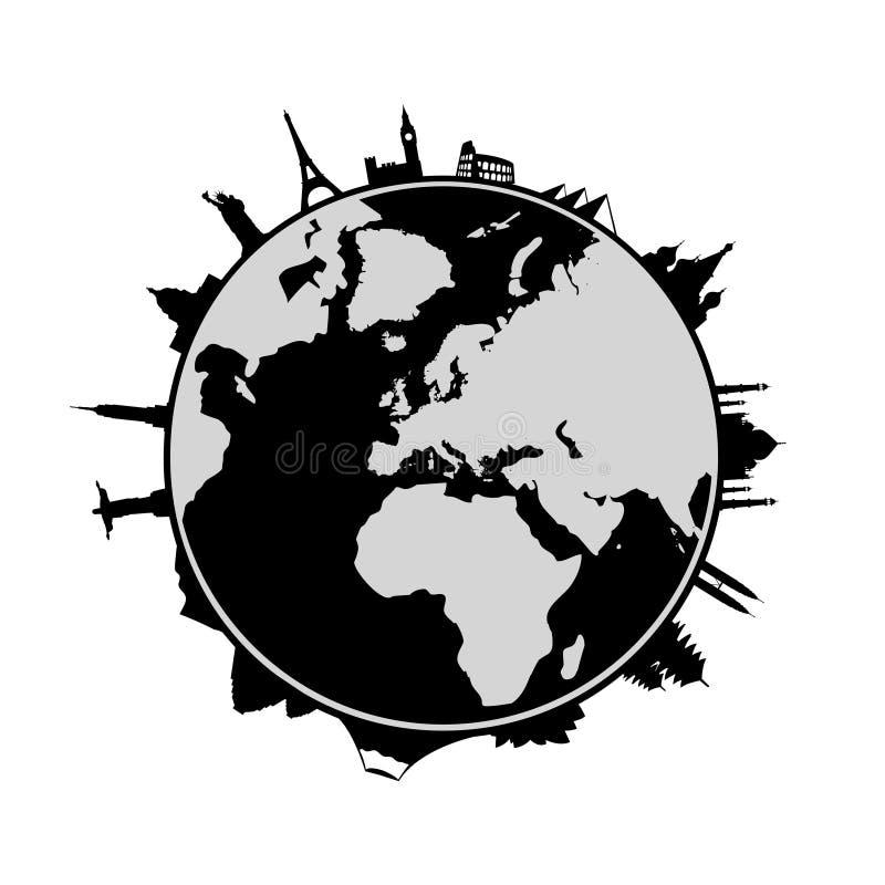 Mundo e marcos ao redor ilustração stock