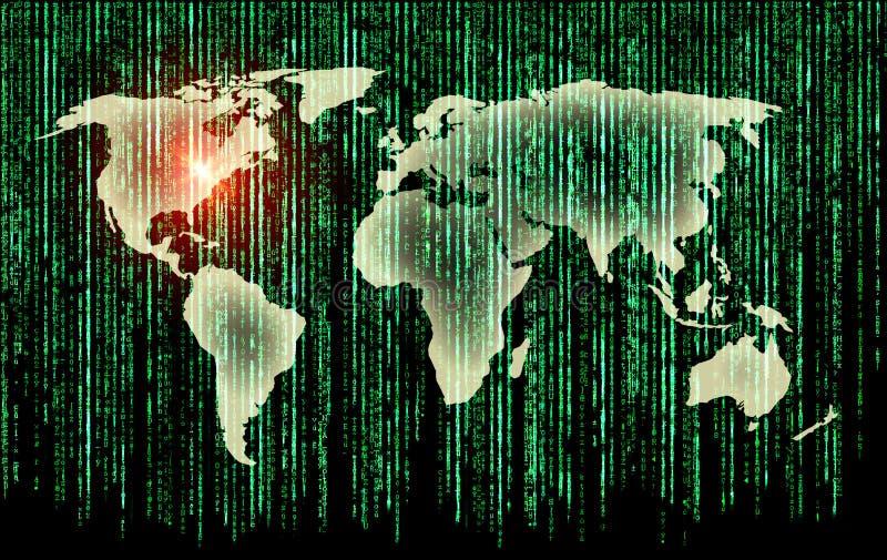 Mundo e matriz binária ilustração do vetor