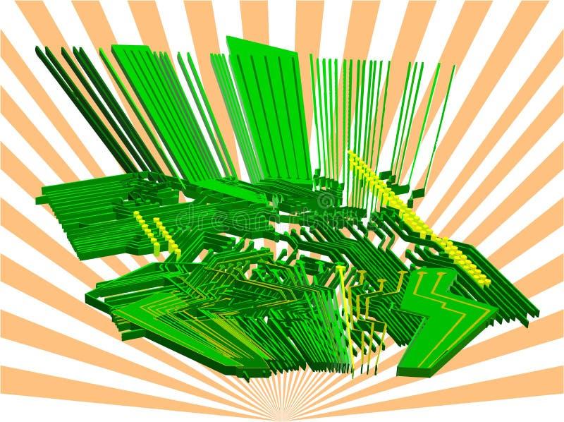 Mundo electrónico - vector 3d stock de ilustración