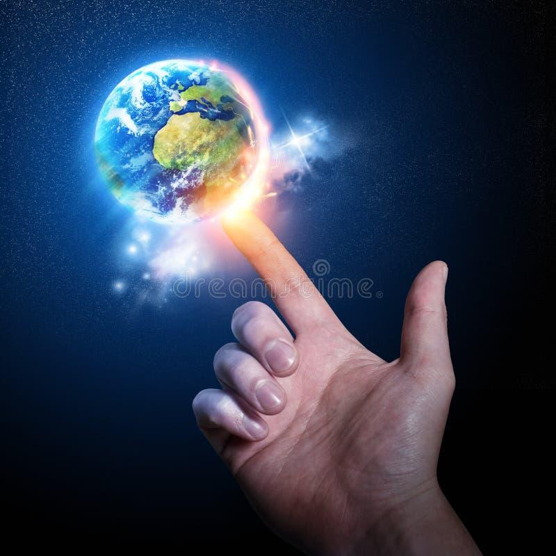 Mundo em sua ponta do dedo ilustração stock