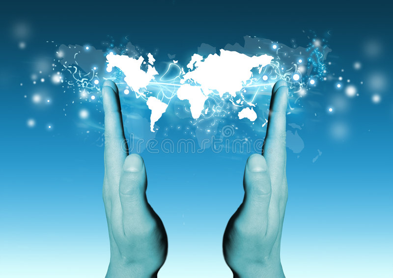 Mundo em suas mãos ilustração royalty free