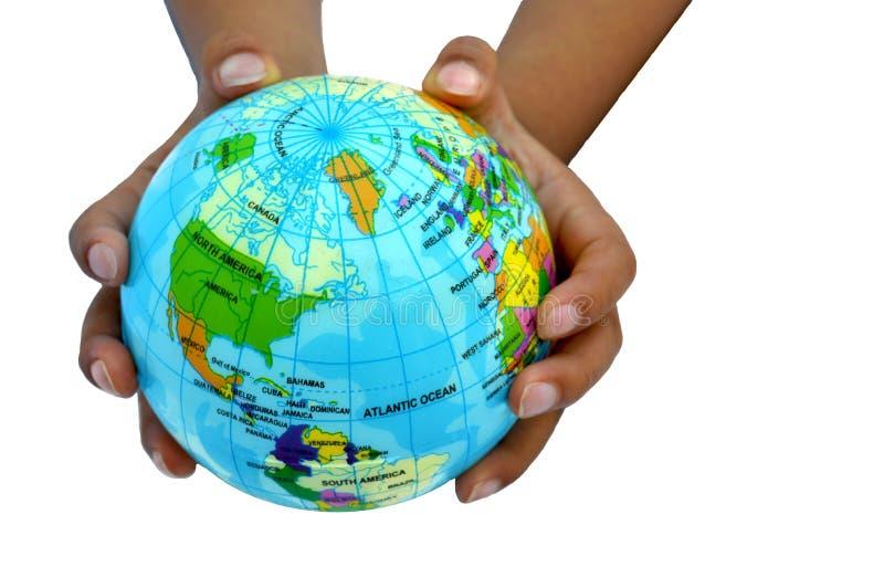 Mundo em suas mãos fotografia de stock royalty free