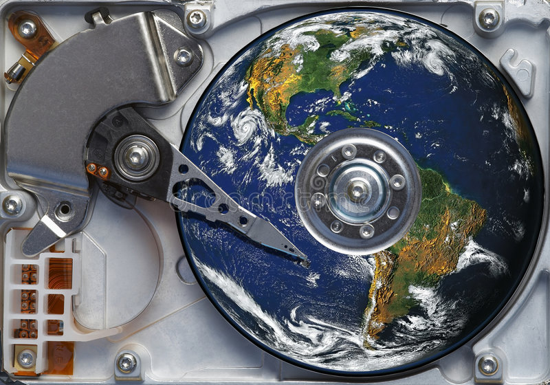 Mundo en el disco duro fotos de archivo
