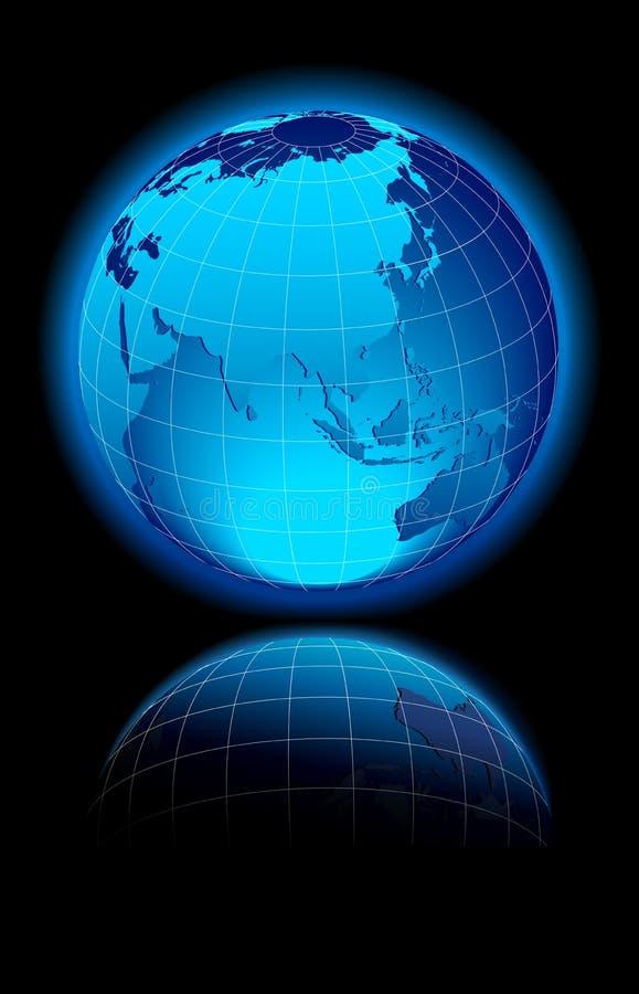 Mundo en el fondo negro China y Asia stock de ilustración