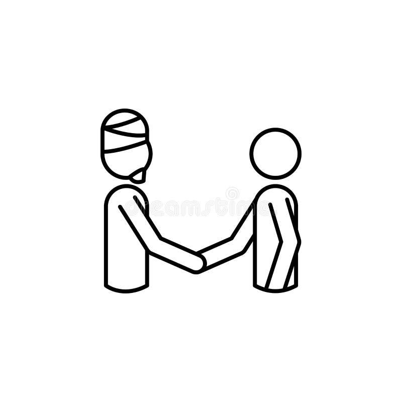 mundo en icono de las religiones Elemento del icono de la paz para los apps móviles del concepto y del web La línea fina mundo en libre illustration