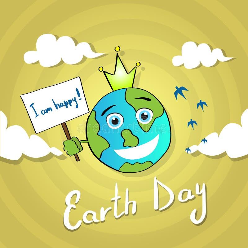 Mundo feliz April Holiday Globe del día de la sonrisa de la bandera del control de la tierra ilustración del vector