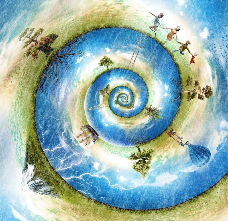 Mundo feliz del nautilus ilustración del vector
