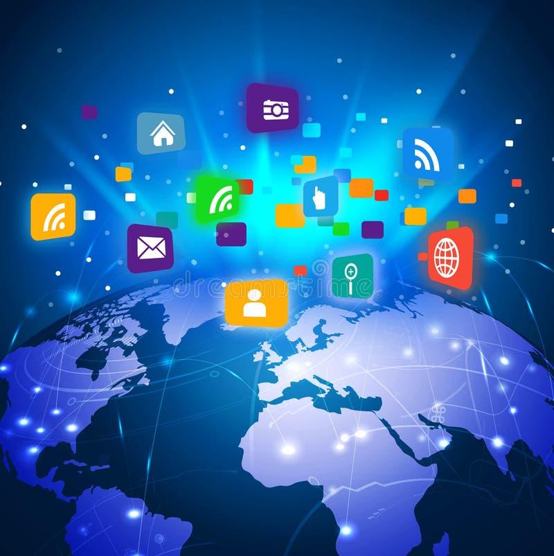 Mundo futurista con el medios símbolo colorido de la red para el concepto del negocio de la comunicación y de la tecnología ilustración del vector