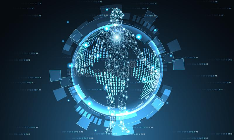 Mundo futurista y concepto digital humano f de la tecnología abstracta stock de ilustración