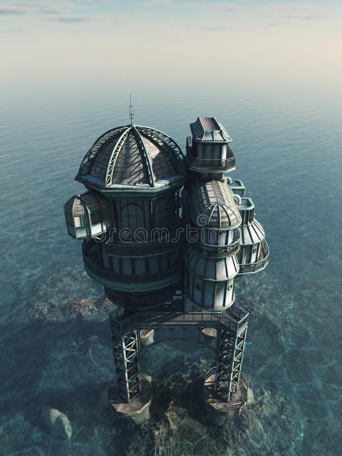 Mundo futuro - casa do mar ilustração do vetor