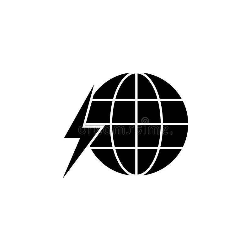 Mundo, global, ícone do relâmpago no fundo branco Pode ser usado para a Web, logotipo, app móvel, UI UX ilustração do vetor