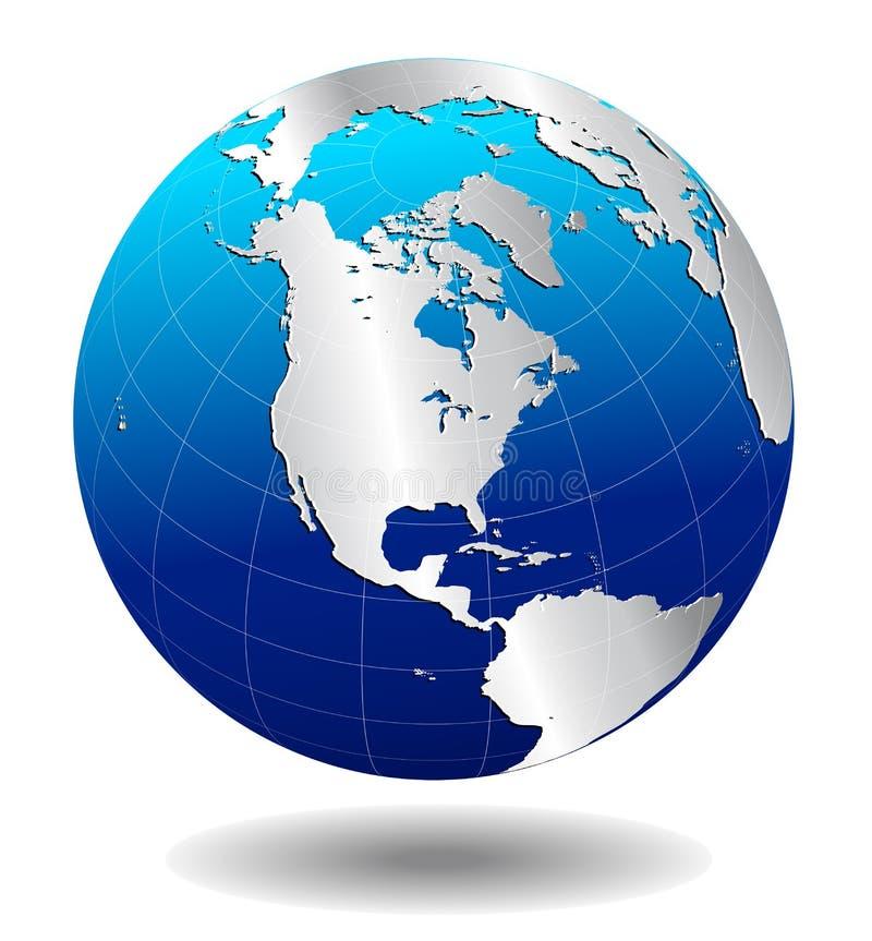 Mundo global de plata de AMÉRICA stock de ilustración