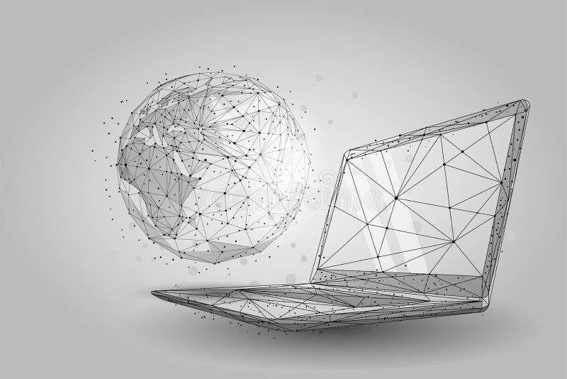 Mundo global del wireframe polivinílico bajo Tierra del planeta en la pantalla del ordenador portátil ilustración del vector