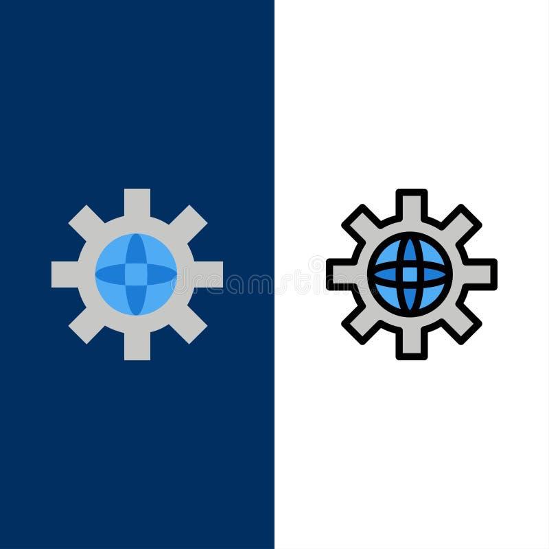 Mundo, globo, ajuste, ícones técnicos O plano e a linha ícone enchido ajustaram o fundo azul do vetor ilustração do vetor