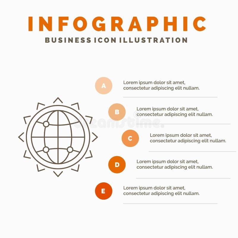 Mundo, globo, SEO, negocio, plantilla de Infographics de la optimizaci?n para la p?gina web y presentaci?n L?nea icono gris con l libre illustration