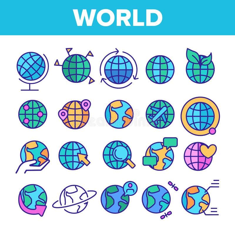 Mundo, globo, sistema linear de los iconos del vector de la tierra del planeta libre illustration
