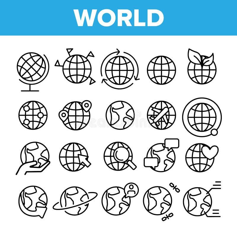 Mundo, globo, sistema linear de los iconos del vector de la tierra del planeta stock de ilustración