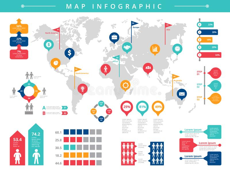 Mundo infographic Plantilla infographic del vector de la población de la gente de la presentación del negocio ilustración del vector
