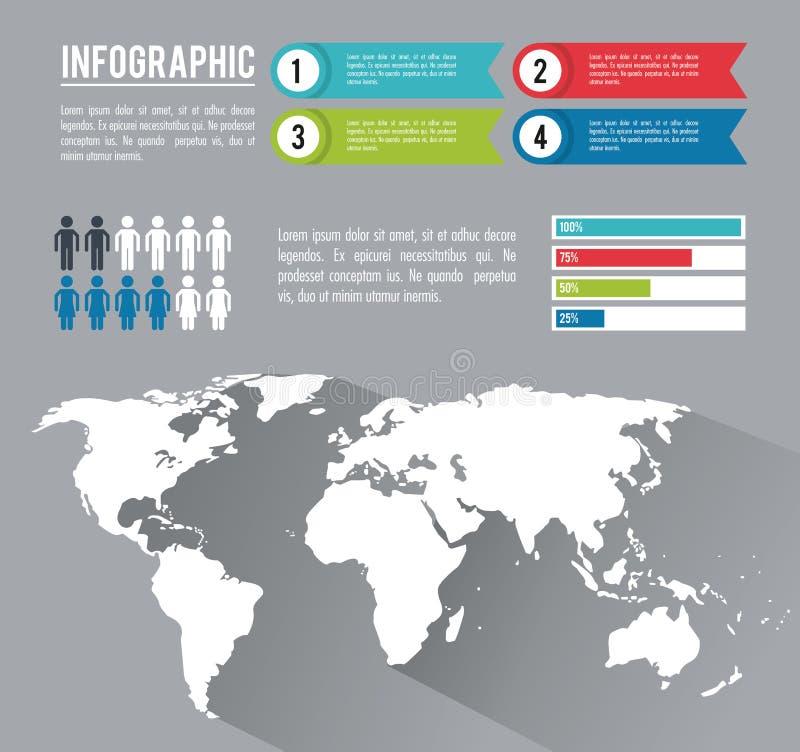 Mundo inteiro de Infographic ilustração do vetor