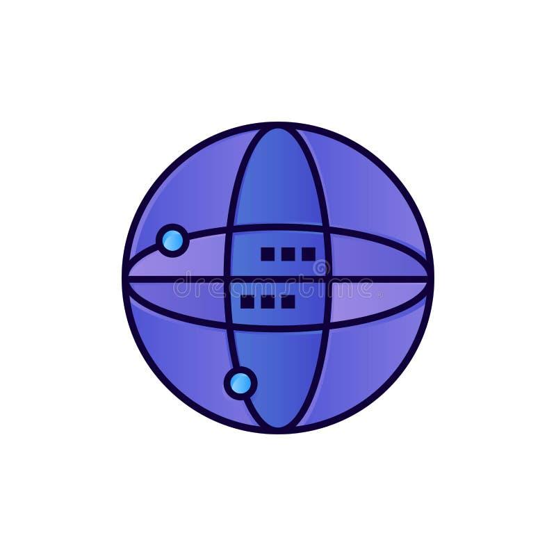 Mundo, Internet, computando, icono plano del color del globo Plantilla de la bandera del icono del vector libre illustration