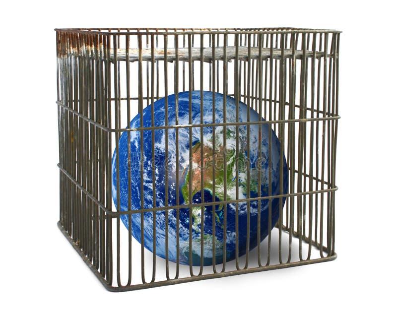 Mundo lindado en una jaula stock de ilustración