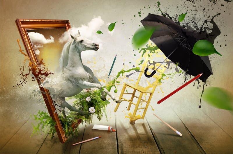 Mundo mágico da pintura ilustração royalty free