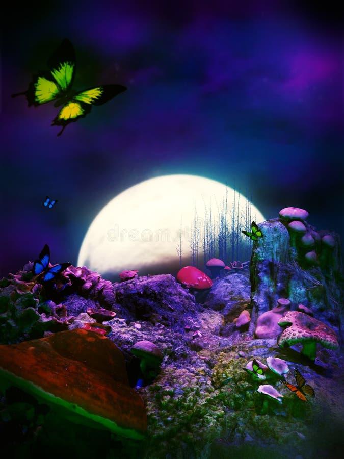 Mundo mágico do cogumelo da fantasia ilustração do vetor
