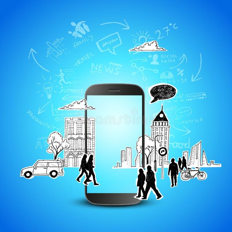 Mundo móvil de la tecnología ilustración del vector
