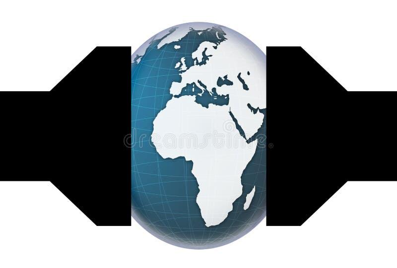 Mundo machacado en una prensa Debajo del mundo de la presión, imagen conceptual stock de ilustración