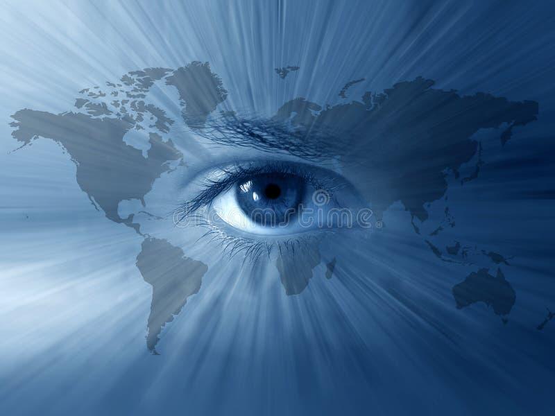 Mundo-mapa e olhos azuis ilustração do vetor