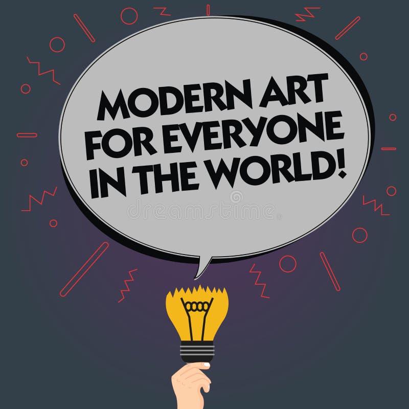 Mundo moderno de Art For Everyone In The del texto de la escritura de la palabra Concepto del negocio para la creatividad separad stock de ilustración