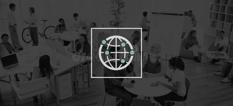Mundo mundial internacional de la comunidad global conectado stock de ilustración