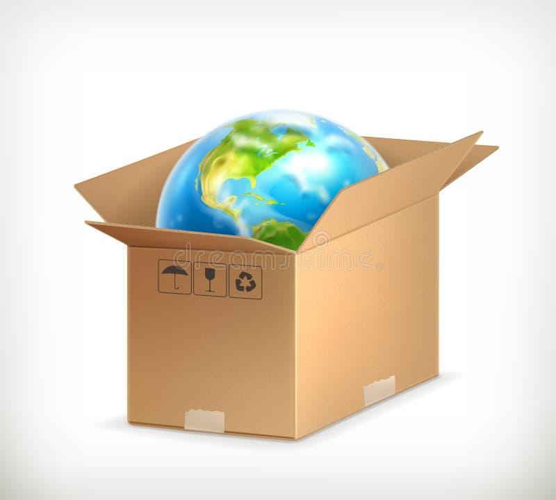 Mundo na caixa ilustração royalty free