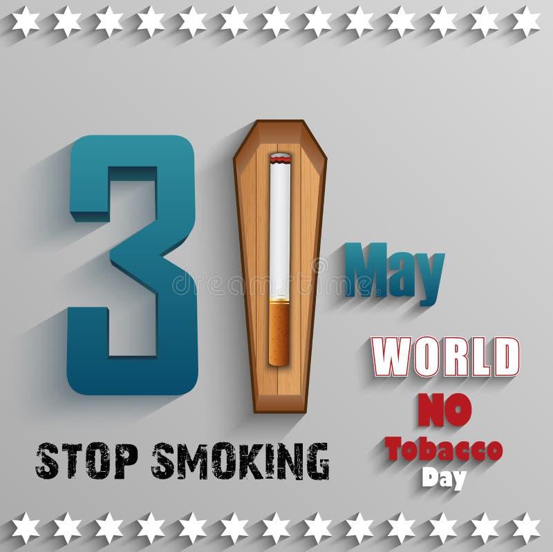 Mundo ningún día del tabaco con el texto y el cigarrillo elegantes sobre la madera en fondo gris libre illustration