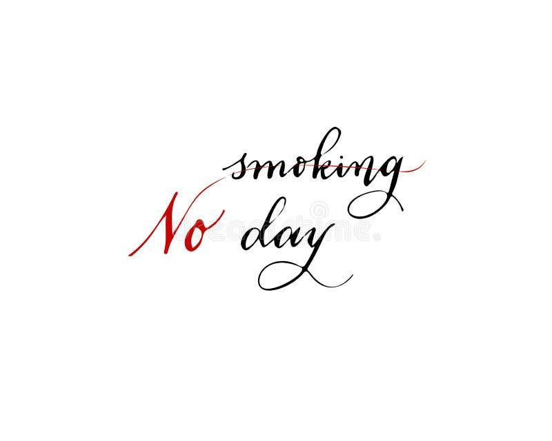 Mundo ningún día del tabaco, ejemplo, silueta plana, concepto de la bandera, plantilla del cartel, negro, blanco, ritmo del coraz stock de ilustración