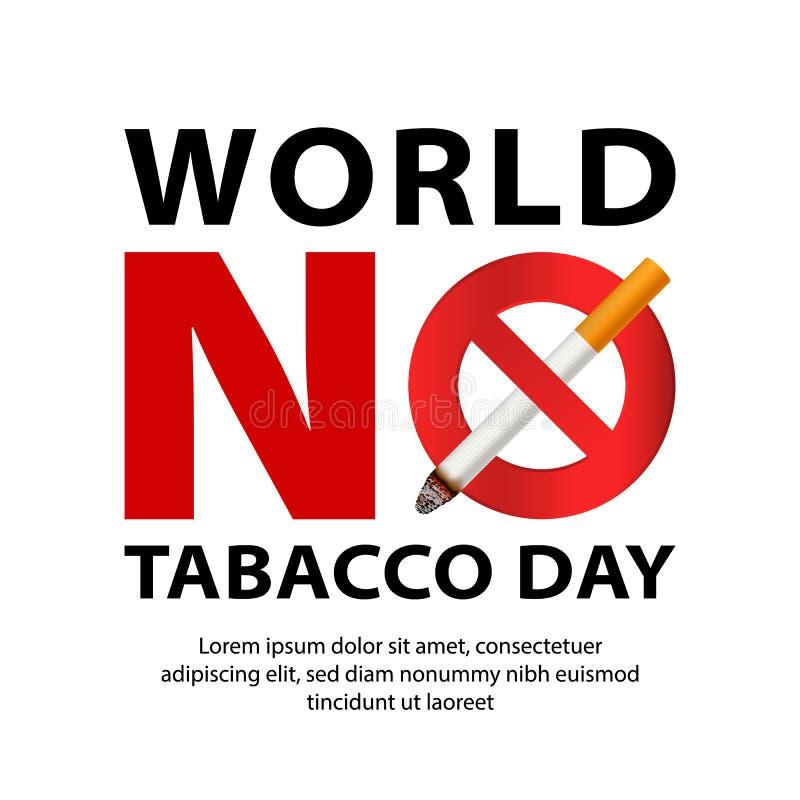 Mundo ningún fondo del concepto del día del tabaco, estilo realista ilustración del vector