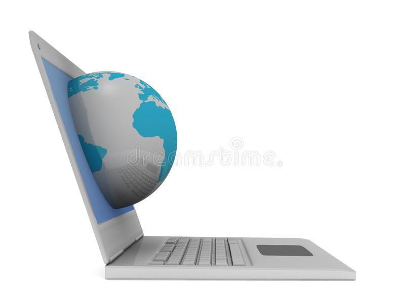 Mundo no computador fotografia de stock royalty free